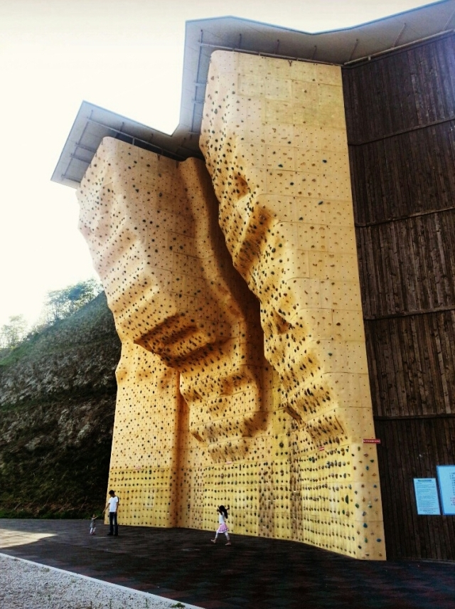 Rock climbing wall!! This is practically right around the corner from me! Unfortunately, it's abandoned... therefore, unsafe to use.